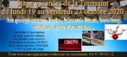 Stage Vacances de la Toussaint 2020